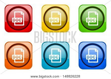doc file colorful web icons