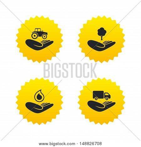 Helping hands icons. Agricultural tractor insurance symbol. Delivery truck sign. Save nature forest. Water drop. Yellow stars labels with flat icons. Vector