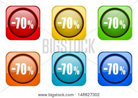 70 percent sale retail colorful web icons