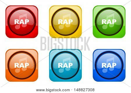 rap music colorful web icons