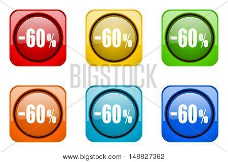 60 percent sale retail colorful web icons