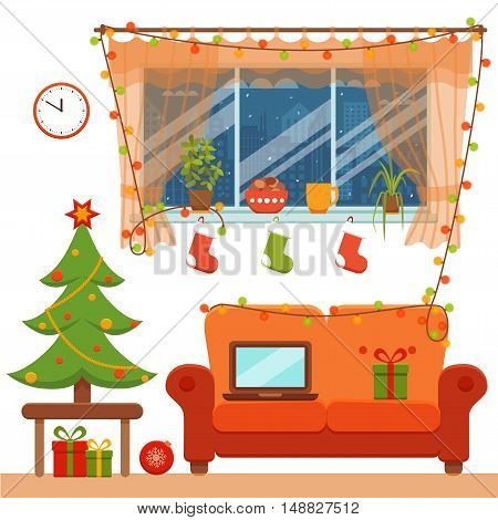 Christmas room interior in colorful cartoon flat style. Christmas tree, gifts, decoration, sofa, window,  laptop.   Cozy noel xmas night celebration interior vector illustration.