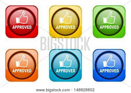approved colorful web icons