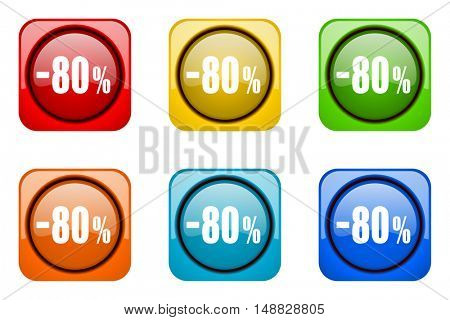 80 percent sale retail colorful web icons