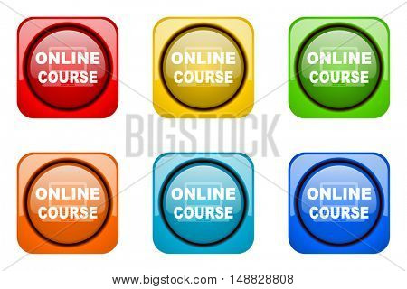 online course colorful web icons