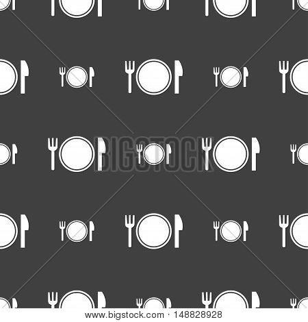 Plate Icon Sign. Seamless Pattern On A Gray Background. Vector