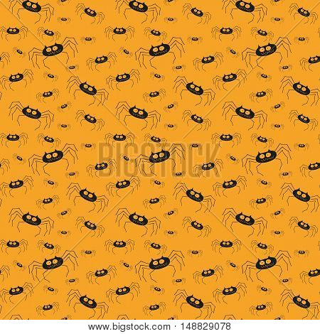 Halloween pattern with spiders on the orange background.