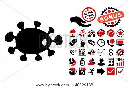 Bacteria pictograph with bonus pictures. Vector illustration style is flat iconic bicolor symbols, intensive red and black colors, white background.