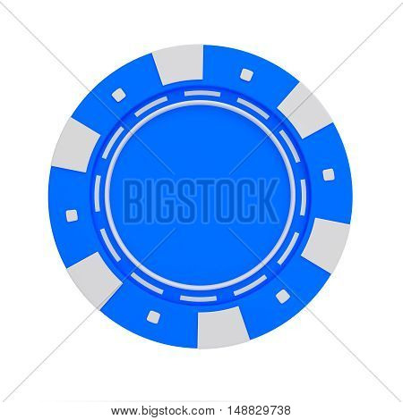 single blue casino chip isolated on white background. 3d rendered illustration