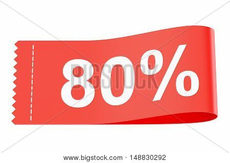 80% discount clothing tag 3D rendering isolated on white background