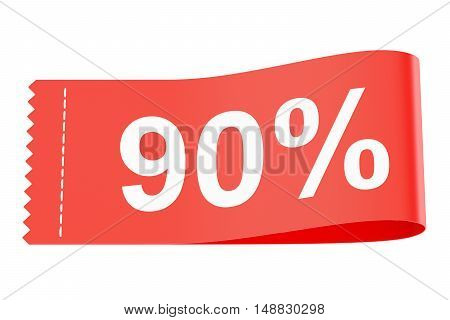 90% discount clothing tag 3D rendering isolated on white background