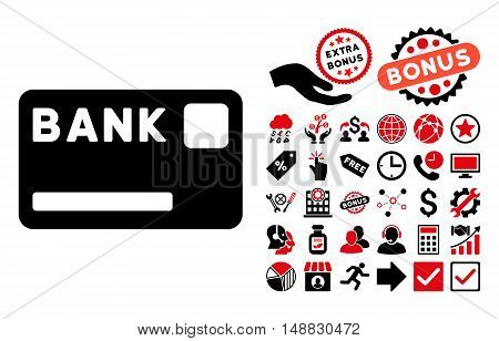 Bank Card icon with bonus clip art. Vector illustration style is flat iconic bicolor symbols intensive red and black colors white background.