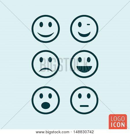 Emoticons icon. Various emoji symbol. Vector illustration