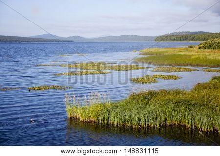 Day on the lake Zyuratkul. Ural. Russia