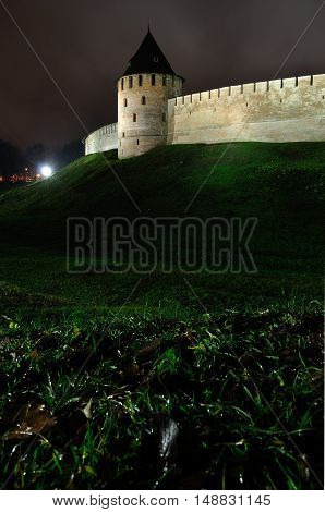 Architecture view of Fedorov tower of Novgorod Kremlin fortress in Veliky Novgorod by autumn night Russia - city night autumn landscape in Veliky Novgorod Russia