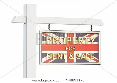 Property for sale and rent in Great Britain concept. Real Estate Sign 3D rendering isolated on white background