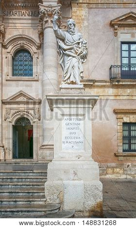 Apostle statue in Cathedral in Syracuse, Sicily