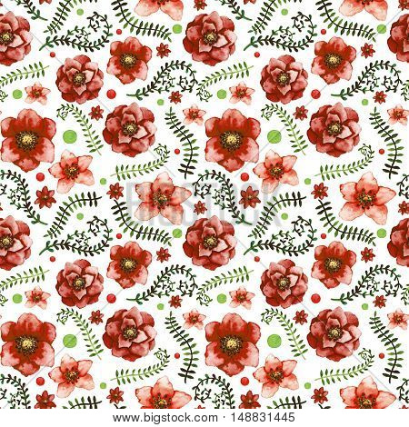 Watercolor Bright Red Flowers Dots Deep Green Leaves and Vine Seamless Pattern