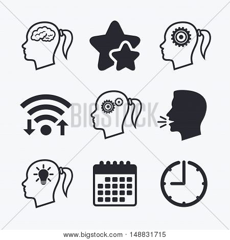 Head with brain and idea lamp bulb icons. Female woman think symbols. Cogwheel gears signs. Wifi internet, favorite stars, calendar and clock. Talking head. Vector