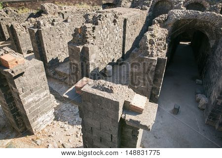 Remains of the Roman amphitheater at the Piazza Stesicoro (Stesicoro square), Catania,Italy