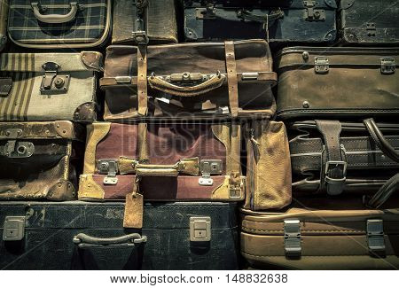 Retro  luggages bag background