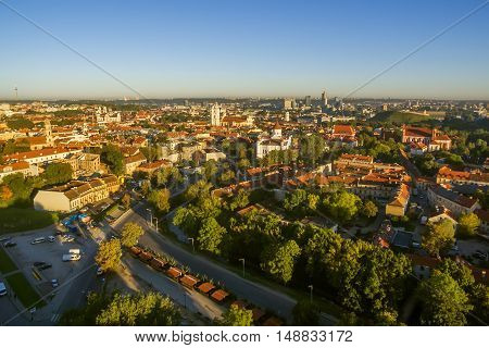Vilnius, Lithuania: aerial top view of the old town in the sunrise