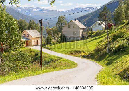 Road and halmet around Stalheim in Hordaland Norway