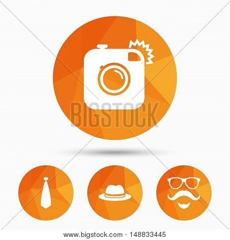 Hipster photo camera. Mustache with beard icon. Glasses and tie symbols. Classic hat headdress sign. Triangular low poly buttons with shadow. Vector