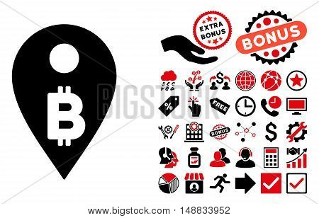 Bitcoin Map Marker icon with bonus design elements. Vector illustration style is flat iconic bicolor symbols, intensive red and black colors, white background.