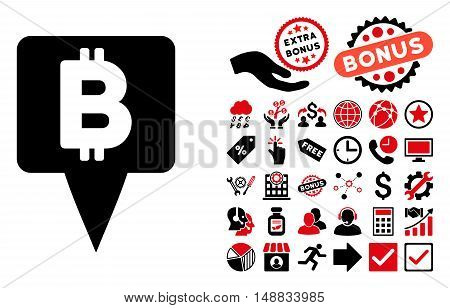 Bitcoin Map Pointer icon with bonus clip art. Vector illustration style is flat iconic bicolor symbols, intensive red and black colors, white background.