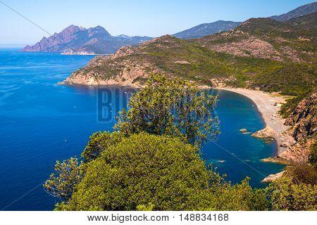 View to Plage de Bussaglia and Punta Rosa near Porto town Corsica France Europe.