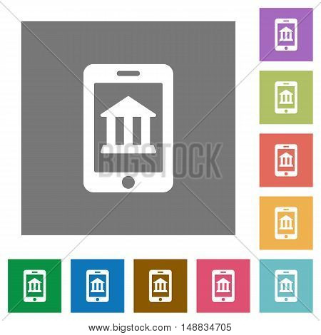 Mobile banking flat icon set on color square background.