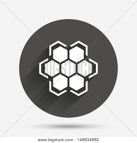Honeycomb sign icon. Honey cells symbol. Sweet natural food. Circle flat button with shadow. Vector