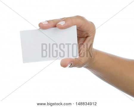 Adult woman hand holding blank card isolated on white background.