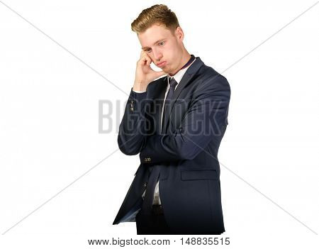 Portrait of a young businessman in despair