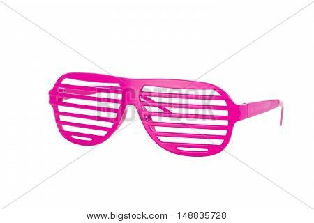 Hot pink 80's slot glasses isolated on white background 3/4 view