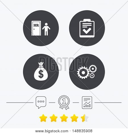 Human resources icons. Checklist document sign. Money bag and gear symbols. Man at the door. Chat, award medal and report linear icons. Star vote ranking. Vector