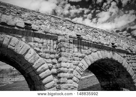 Antiquity stone Roman bridge in Salamanca,  Spain