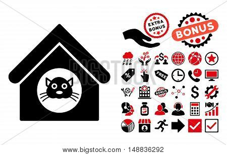 Cat House icon with bonus pictures. Vector illustration style is flat iconic bicolor symbols, intensive red and black colors, white background.