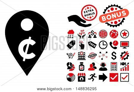 Cent Map Marker icon with bonus design elements. Vector illustration style is flat iconic bicolor symbols, intensive red and black colors, white background.