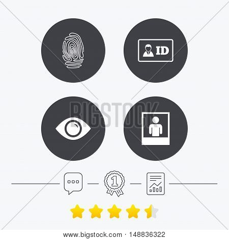 Identity ID card badge icons. Eye and fingerprint symbols. Authentication signs. Photo frame with human person. Chat, award medal and report linear icons. Star vote ranking. Vector