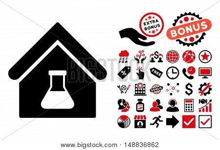 Chemical Labs Building icon with bonus images. Vector illustration style is flat iconic bicolor symbols, intensive red and black colors, white background.