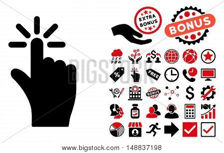 Click pictograph with bonus symbols. Vector illustration style is flat iconic bicolor symbols, intensive red and black colors, white background.