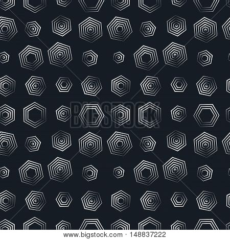 vector seamless hexagon monochrome pattern, repeating geometric texture, linear structure background