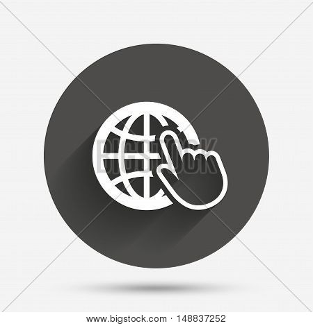 Internet sign icon. World wide web symbol. Cursor pointer. Circle flat button with shadow. Vector