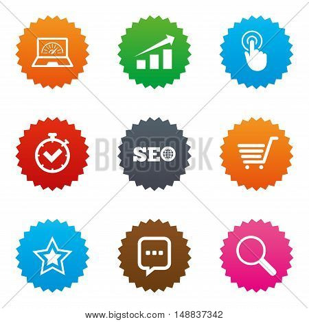 Internet, seo icons. Online shopping, charts and speed signs. Chat messages symbol. Stars label button with flat icons. Vector