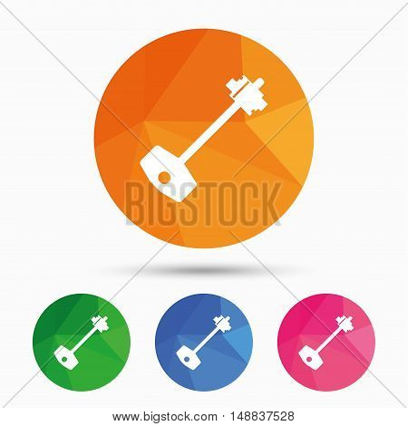 Key sign icon. Unlock tool symbol. Triangular low poly button with flat icon. Vector