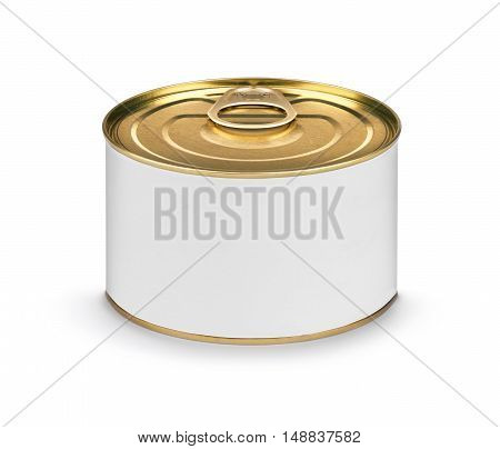 Closed fish or food tin can with blank white label isolated on white background