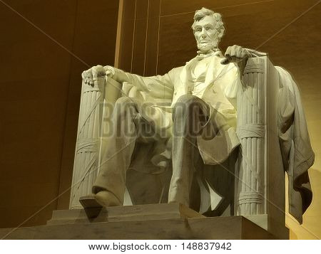 USA landmarks: Lincoln Memorial at night. Washington DC