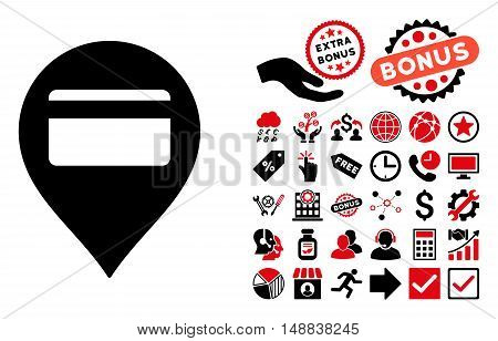 Credit Card Pointer icon with bonus symbols. Vector illustration style is flat iconic bicolor symbols, intensive red and black colors, white background.